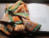 Vintage Scarf * Copper * Green * Grey Pattern * Southwest Geometric Silk Blend Scarf * 1970's Square Scarf