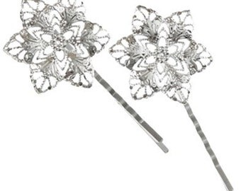 2 Fancy Filigree Silver Tone Hairclips for Beading and Wedding Accessories