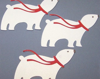 Bear, Polar Bear, White, Scarf, Winter, Snow, Ice, Large animal, Paper piecings, Scrapbooking, Favor Tags, Card Toppers, Tin Toppers, Party
