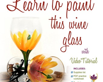 Paint a Hibiscus, pink and yellow Hibiscus wine glass, how to paint glass, wine glass painting video, tropical flower, flower wine glass,