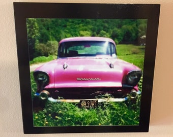 """Pink Chevy 10 x 10"""" photo mounted on to wood frame/ Home Decor/ Wall Decor/ Affordable Fine Art/ Photography for sale"""