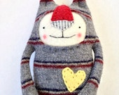 Small Striped Wool Stuffed Animal Cat Upcycled Repurposed Sweater