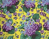 COUPON CODE SALE - End of Bolt - Botanical, Violets, Yellow, Snow Leopard Designs, Rowan Westminster, 100% Cotton Quilt Fabric, Quilting