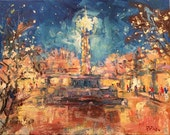 RESERVED FOR SC /  2nd payment, Southwest Impressionist Art, Santa Fe town center at Christmas, original painting / Russ Potak
