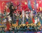 Concert Conductor Maestro symphony painting, performance orchestra musicians classical music original art, on stage