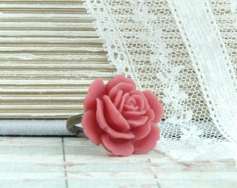 Red Rose Ring Red Floral Ring Adjustable Ring Red Flower Ring Red Rose Jewelry Large Flower Ring
