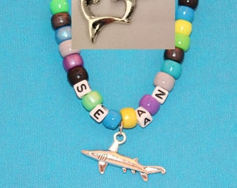 Kids Party Favor Shark Fish Dolphin Turtle Personalized Necklace - Make your own Child Necklace, Easy to Make, Bead Kit, Shark Week