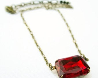 SALE 25% Off Ruby Crystal Necklace - July Birthstone Gift - Art Deco Jewelery - Jewellery - Victorian Necklace - LANCASTER Ruby