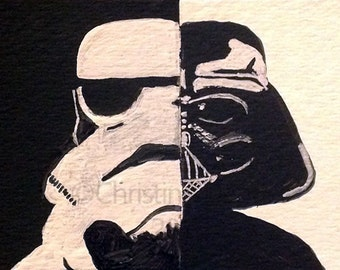 Original Art Stormtrooper & Darth Vader Star Wars Fan Art ACEO Painting