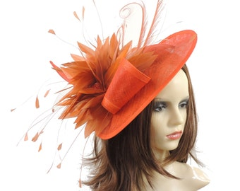 Adonis Orange Fascinator Hat for Weddings, Races, and Special Events With Headband