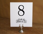 Printable Table Number - Table Number Template - Instant Download - Wedding Table Number PDF - Tandem Bicycle Table Number - Black Tandem