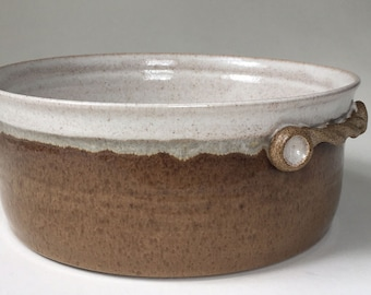 Kitchen Casserole, Ovenware, 15 Cup Serving Bowl with Handles, Brown with Speckled White, Stoneware Bowl, Gift for Him, Oven to Table