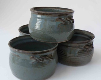 SET OF 4 Blue Gray with Brown Rustic Soup Crocks with Handles, Made to Order, Hostess and Gourmet, Chili Bowls and Serving, Onion Soup Bowls