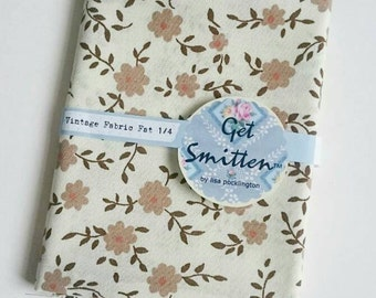 Pretty Coffee Brown Garden Flower with Trailing Leaves On Cream Background English Vintage Sheet Fabric Fat Quarter