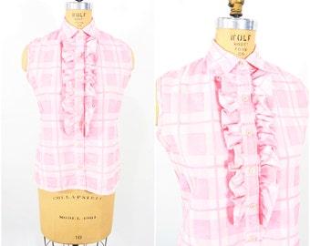 1970s tank vintage 70s pink sleeveless plaid sleeveless blouse L
