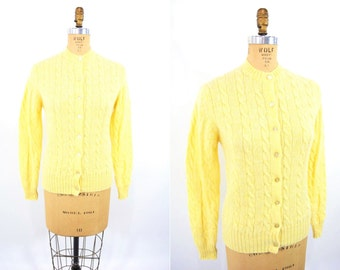 "1960s yellow cardigan | lemon yellow Scottish wool sweater | vintage 60s cardigan | W 24""+"