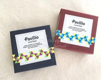 Pavilio Lace Tape - Decorative Sticker Roll -  Chidori Purple / Chidori Blue - Mini