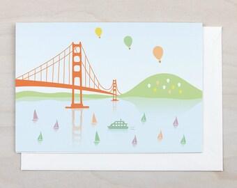 Golden Gate Bridge Greeting Card  - San Francisco, California, Blank, Ocean, Bridge,