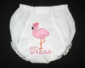 Custom Personalized Applique FLAMINGO and NAME Baby Bloomers - You Choose Font - Pink, Lt Orange, and Hot Pink
