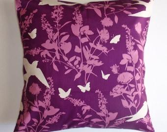 SUMMER SALE - Throw Pillow Cover, Purple Birds Butterflies & Floral Accent Pillow Cover, Handmade Decorative Purple Cushion Cover