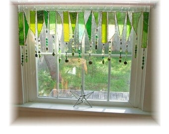 Green Garden Mix Number TWO Stained Glass Window Treatment Valance Curtain