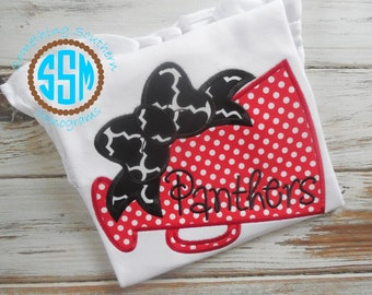 Megaphone with Bow Appliqued Shirt-Cheer-Cheerleading Shirt-Cheerleader