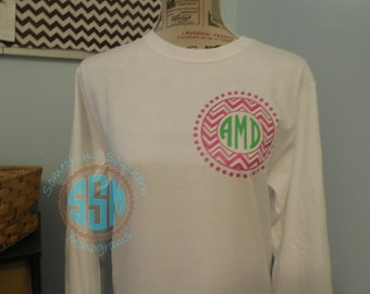 Womans Monogrammed Tee Shirt--Front and Back Design--Heat Press