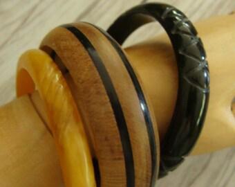 Gorgeous Vintage Mixed Bakelite and Wood Bangles Bracelet lot