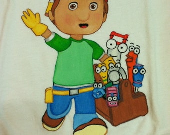 Ready to ship.....Special Price...Custom Painted Disney Handy Manny shirt size 24 month Boys