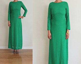Vtg Classic KELLEY GREEN Long Sleeve Glam Simple MAXI Dress S