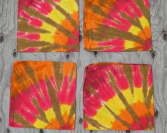 "Tie Dye Kitchen Set #6: Spiral in the Flames (4 Matching Napkins (22x22""))"