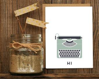 Typewriter Hi Letterpress Greeting Card