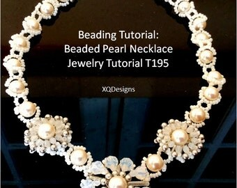 Beading Tutorial: Beaded Pearl Necklace Jewelry Tutorial T195