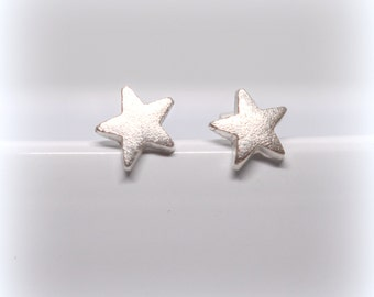 Silver Star Stud Earrings, Eco-friendly, Recycled, Brushed Silver, Matt Fine Silver Star Earrings, Little Silver Stud Earrings, Gift for her