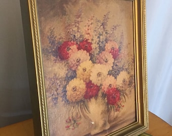 Floral Art Vintage Gold Wood Frame
