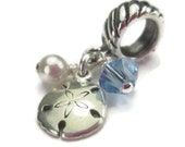 Sand Dollar Charm for European Bracelets, Sterling Silver, Beach Charm, Ocean, Dangle Bead
