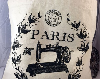 100% Cotton Tote Bag Eco Friendly with Charming Paris Sewing Machine Image - Free Shipping USA