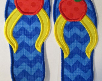 Apple Flip Flops - Iron On or Sew On Embroidered Custom Made Appliques