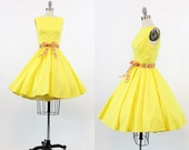 50s Dress Cotton XS / 1950s Vintage Full Skirt Sundress / Sunshine Yellow Dress