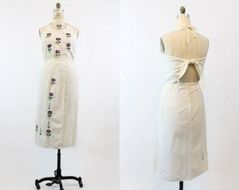 70s Embroidered Dress Large / 1970s Vintage Cotton Flower Wrap Skirt and Halter / Let It Be Outfit