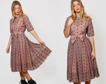 ON SALE Vintage 50s LACE Dress Embroidered Floral Party Dress Rockabilly Dress Short Sleeve Swing Dress Retro Prom Dress