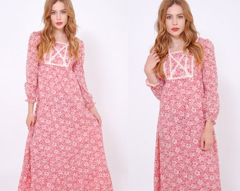 Vintage 70s Rose FLORAL Prairie Dress Hippie Dress Long Sleeve Maxi Dress LACE Trim Boho Dress