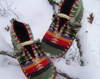 Moss Beneath My Feet - Felted Blanket Wool Moccasins / Lined / Sheepskin & Leather - Women's Sizes