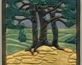 """Craftsman style Oak Grove Tile with Trees and Fields 6"""" square Art Tile"""