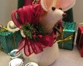 Felt Mouse with Wreath and Christmas bow art doll  decoration