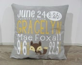 "Birth Announcement Pillow COVER - Personalized Baby Pillow - Nursery Decor - 16"" x 16"" Custom Baby Name Pillow - Baby Gift - Design Your Own"