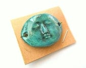 Stoneware Turquoise Fired Clay Face Domed Link Finding
