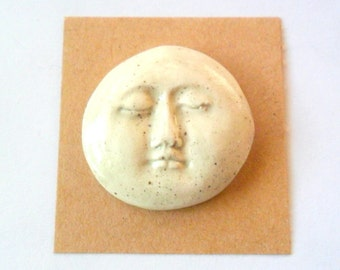 Stoneware Kiln Fired Clay Little Face Cabochon