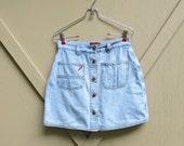 80s/90s vintage High Waist Button-Down Light Wash Denim Jean Mini Skort / Faded Glory