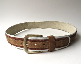 60s/70s vintage Distressed Striped Brown Suede and White Leather Belt with Gold Metal Buckle